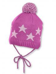 Baby Mädchen Mütze Strickmütze zum binden mit Bommel und Sternen, gefüttert von Sterntaler, grau - 4701708