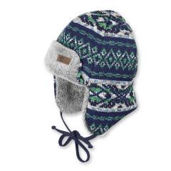 Jungen Mütze Fliegermütze Wintermütze, zum binden, Nackenschutz,Strick, von Sterntaler, grün-blau - 4611753
