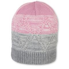 Mädchen Wintermütze Strickmütze  mit Microfleece-Futter, helllila grau - 4721914