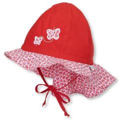 Mädchen Sommermütze zum Binden mit Nackenschutz, Flapper LSF 30, rot Schmetterlinge - 1411911