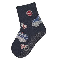"""Jungen Baby Fliesen Flitzer Air Anti-Rutsch-Socken mit rutschfester gefütterter ABS-Sohle, marineblau """"Polizeiauto"""" - 8131906"""