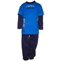 Jungenschlafanzug, blau-grau