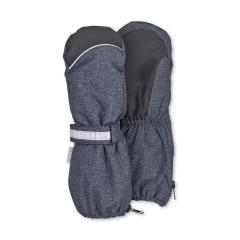 Jungen Stulpen-Handschuhe gefüttert Microfleecefutter Fausthandschuhe mit reflektierendem Klettverschluss und Reißverschluss wasserdicht atmungsaktiv, dunkelblau - 4321915