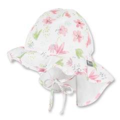 """Mädchen Kinder Baby Flapper Sommerhut zum Binden mit Nackenschutz Sommermütze """"Blumen"""", ecru – 1412011"""