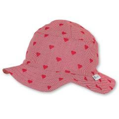 """Mädchen Kinder Baby Sonnenhut Fischerhut mit LSF UV-Schutz 50+ """"Herzen"""", rot – 1412071"""
