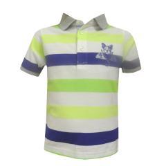 Poloshirt Baby Jungen Kurzarm gestreift, neongrün