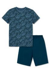 """Jungen Schlafanzug Kurzarm """"Blättermuster"""", blau - 161394"""