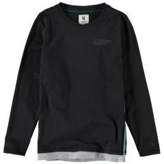 Garcia Jungen T-Shirt Langarmshirt mit seitlichen Streifen schwarz - H93605 1755 off black