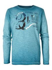 Jungen T-Shirt Langarmshirt, leichter Farbverlauf und Used-Look, bedruckt, blau - B-FW18-TLR637