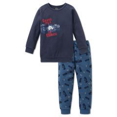 Jungen Schlafanzug Langarm mit Automotiv, dunkelblau - 163441
