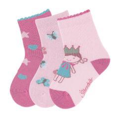 Mädchen Socken 3er-Pack, rosa pink Schmetterling Prinzessin Herz - 8321923