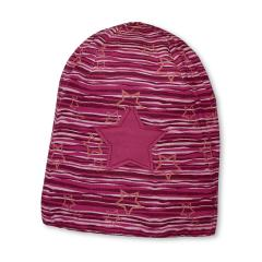 Mädchen Mütze Slouch-Beanie Wendemütze gestreift mit Sternen von Sterntaler, rot - 4521705