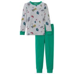 """Jungen Schiesser Schlafanzug Pyjama langarm """"Spielzeug"""", grau mel./grün – 171270"""