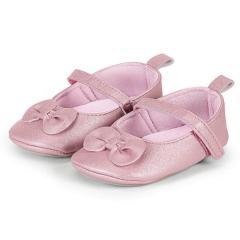 Mädchen Baby Schuhe Krabbelschuhe mit Schleife, Klettverschluss und Lederoptik, rosa - 2301900