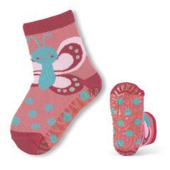 Mädchen Anti-Rutsch-Socken Fliesenflitzer Schmetterling, rosa - 8021806