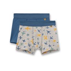 Sanetta Jungen Unterhose Shorts Hipshorts Doppelpack gemustert alloverprint Flugzeuge einfarbig , grau-melange / blau -335037