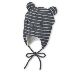 Baby Jungen Strickmütze gefüttert Wintermütze zum Binden mit Öhrchen und Tiergesicht, dunkelgrau mel.  - 4701960