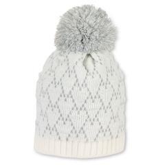 Mädchen Strickmütze Wintermütze mit Glanzfäden, Microfleece und Bommel, beige grau- 4721918