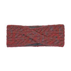 Mädchen Strick-Stirnband gefüttert Winterstirnband mit Microfleecefutter, rot dunkelgrau – 4851902