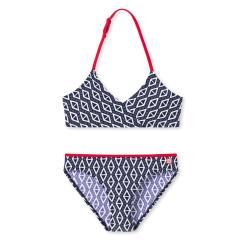 """Mädchen Bikini Badebekleidung Zweiteiler gemustert """"Dreiecke Punkte"""", dunkelblau - 172791"""