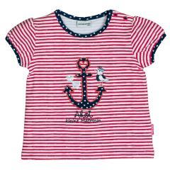 Salt&Pepper Mädchen T-Shirt gestreift kurzarm mit Anker-Motiv, rot – 93212233