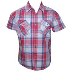 Hemd Jungenhemd kurzarm Karo, rot