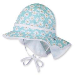 Mädchen Sommermütze mit Flapper, türkis - 1411713