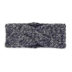 Mädchen Strick-Stirnband gefüttert Microfleecefutter, marineblau hellgrau - 4851902