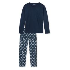 Schiesser Jungen Schlafanzug lang Origami Muster dunkelblau - 163809