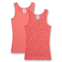 Mädchen Unterwäsche Unterhemden Doppelpack mit Arm- und Halsausschnitt gemustert, rosa - 335360