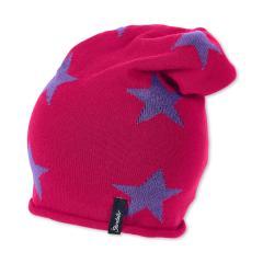 Mütze Mädchen Beanie Sternenmuster Strickmütze, pink