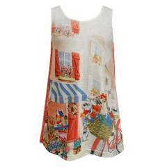 Mädchen kurzarm Kleid Frühlingskleid Tunika Hunde-Motiv, lachs - 3999