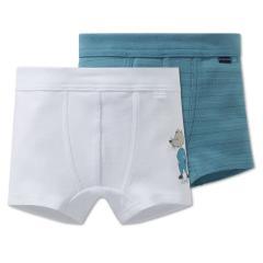 Jungen Unterhosen Shorts 2er Set, blau-weiß - 163409