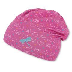 """Mädchen Kinder Baby Mütze LSF UV-Schutz 50 Sommermütze Slouch-Beanie Baumwollbeanie Glanzmotiv """"Herzen/Libelle"""", pink – 1412054"""