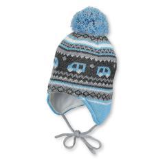 Baby Jungen Mütze Strickmütze zum binden mit Ohrenschutz und Bommel, gefüttert von Sterntaler, türkis - 4701756, Größe 43 43 | türkis |