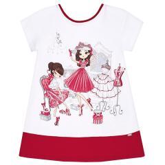 Mayoral Sommerkleid kurzarm mit süßem Puppen-Motiv, rot - 3.945r