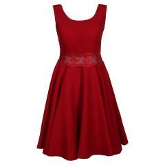 Festliches Kleid aus Krepp mit durchsichtiger Spitzen-Verarbeitung an der Taille, Mädchen, rot - 1374600r