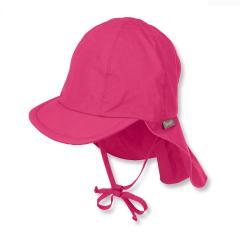 Mädchen Schirmmütze mit Nacken- und Ohrenschutz zum Binden, UV-Schutz 50+, einfarbig, magenta - 1511410