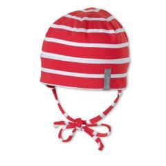 Mütze zum Binden mit Umschlag Jungen Ohrenschutz gestreift, rot