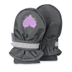 Mädchen Fäustlinge Fausthandschuh gefüttert Herz, grau - 4301741