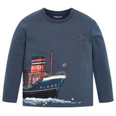 """Jungen Kinder T-Shirt Langarmshirt, magnetgrau """"Schiff"""" - 4.036"""