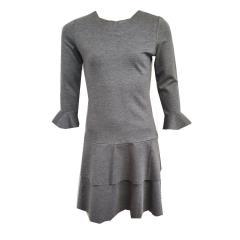 Mädchen Teen Langarm Kleid einfarbig, dunkelblau oder grau-meliert - 593303