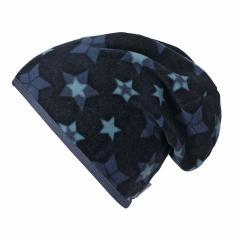 Jungen Mütze Slouch-Beanie gefüttert Fleece Sterne, marine - 4521808