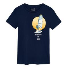 "Jungen Teens T-Shirt 100% Biobaumwolle ""Surfer"", dunkelblau - 6084"
