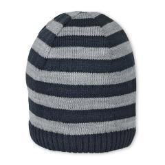 Jungen Baby Wintermütze Strickmütze gestreift mit Baumwollfleece-Futter, marineblau grau - 4701920