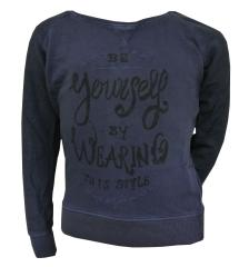Sweater Mädchen Sweatshirt Pullover mit Knopfleiste auf dem Rücken, dunkelblau