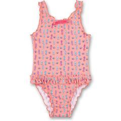 """Mädchen Badeanzug mit UV Schutz 50+ Schleife und Rüschen gemustert """"Seepferdchen"""" Alloverprint, rosa - 430466"""