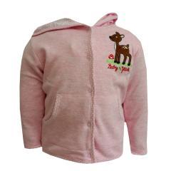 Baby Mädchen Jacke Jäckchen mit Bambimotiv, rosa