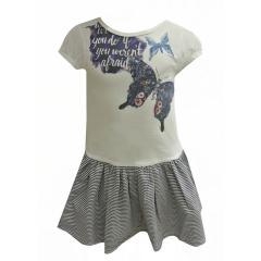 Mädchen festliches Kleid Kurzarmkleid Schmetterling, weiß-blau
