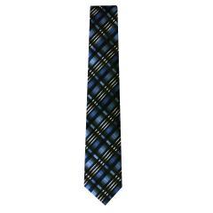 Jungen Schlips Krawatte zum binden gestreift und kariert, blau - 40135, Größe 2 2 | blau |